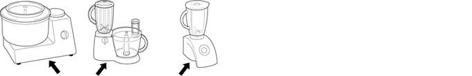 Skizze einer Küchenmaschine. Einzeichnung Typenschild.